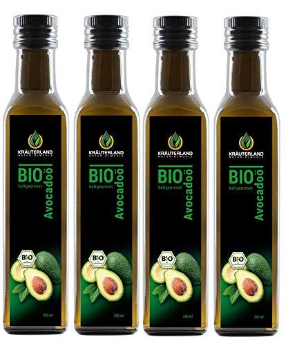 Kräuterland Bio Avocadoöl, kaltgepresst, 100{eeaee81d2376174402ec07283ac2bd2cfb555fbab0fd3c9e0ede251b24d82ac9} rein, nativ, vegan, 1000ml, Premiumqualität, zum Braten und Grillen, für Dips, Salate, Dressings und Marinaden, 1. Pressung(4x250ml)