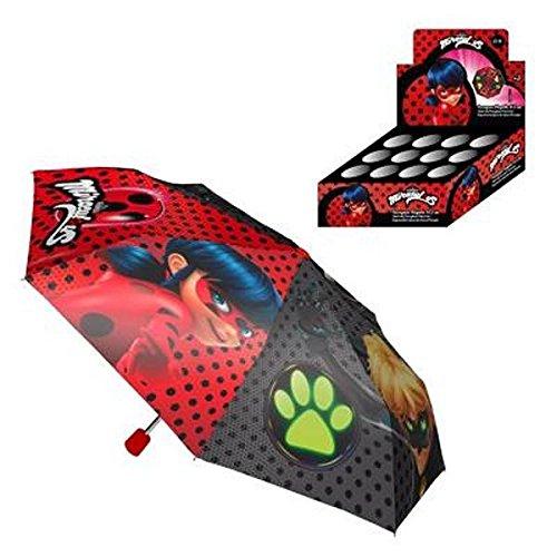 Ladybug y Catnoir - Paraguas Plegable 51,5cm, Color Rojo