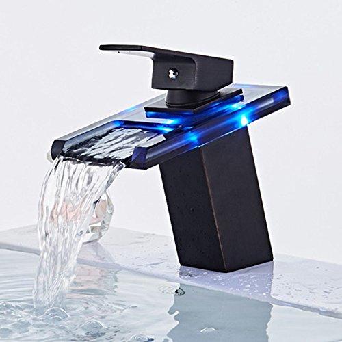 JRUIA LED RGB 3 Farbewechsel Wasserfall Waschtischarmatur Einhebel Mischbatterie Bad Waschbecken Wasserhahn Badarmatur mit Glas Auslauf f. Badezimmer aus Messing Schwarz Öl Eingerieben Bronze