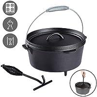 Voilamart 4.5 QT Dutch-Oven aus Gusseisen Fertig Eingebrannter Koch-Topf mit Deckel und Füße