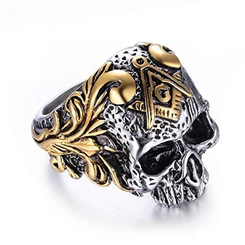 S-P Titan Stahl Freimaurer Schädel Ring Herren Edelstahl Herren, Gold, 8, Silber, 11 - Ringe Freimaurer Diamant