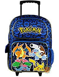 "Nintendo Pokemon Pikachu 16""Azul y Negro Mochila Escolar con Ruedas"