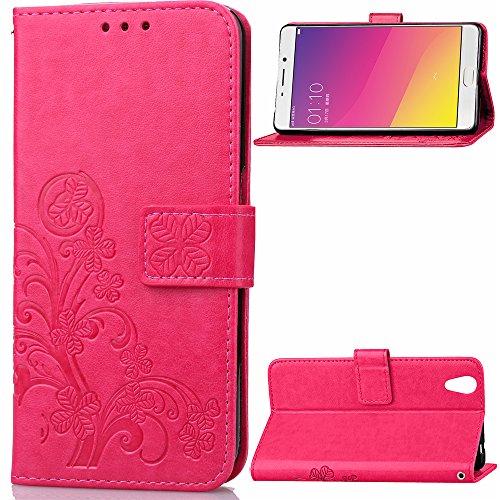 Kihying Hülle für Oppo R9 / Oppo F1 Plus Hülle Schutzhülle PU Leder Flip Wallet Fashion Geschäft HandyHülle (Rot - SD05)