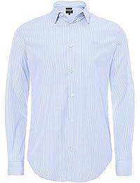 Armani Jeans Men's Slim Fit multi-Stripe Shirt Bleu