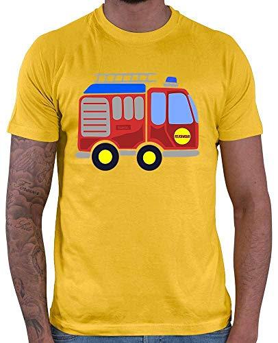 HARIZ  Herren T-Shirt Feuerwehr Auto Fahrzeuge Traktor Plus Geschenkkarten Gold Gelb XS
