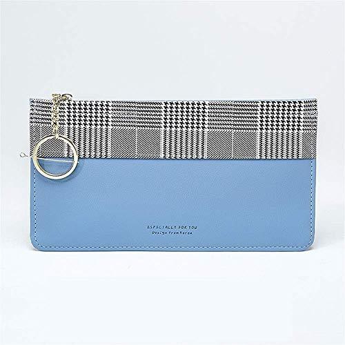 MEIDI Home Einfarbig Damen Elegant Loose-Leaf Karten Reißverschluss Typ Hand Umschlag Tasche (blau)