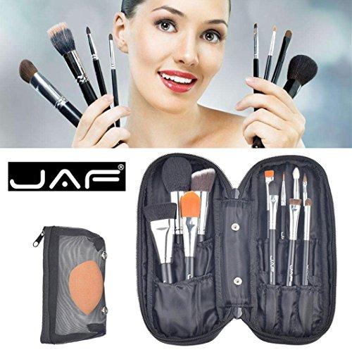 ESAILQ 12 Pcs Pinceau de Maquillage Set Professionnel Visage Cosmétiques Outil de Brosse de Mélange:11XPinceau de maquillage+1x bouffée+1X Pack de pinceaux de maquillage +1x paquet de feuillet (Noir)