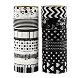 UOOOM 12 Rolls Beautiful Washi Tape Masking Tape deko klebeband buntes Klebebänder DIY scrapbook deko (black)