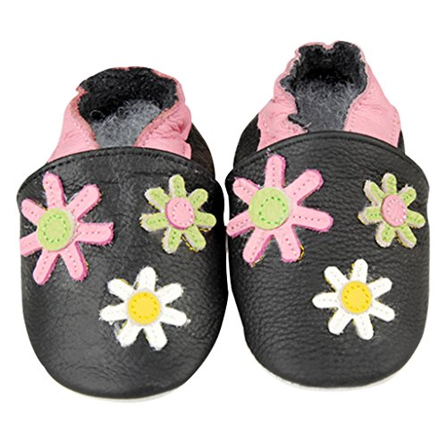 GWELL Weiche Leder Babyschuhe Lauflernschuhe Krabbelschuhe für Jungen Mädchen 18-24 Monate Art-F F