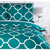 AmazonBasics bedlinnen set, microvezel, 260 x 240 cm, blauwgroen, roosterpatroon