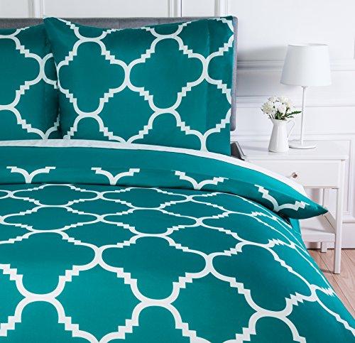 AmazonBasics Parure de lit avec housse de couette en microfibre, 140 x 200 cm, Bleu sarcelle (Teal Trellis)
