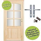 kuporta Fichte Mehrzwecktür nach Maß Schönborn DIN rechts SIZE Kellertür Eingangstür Garagentür Holztür mit Drücker/Drücker-Set