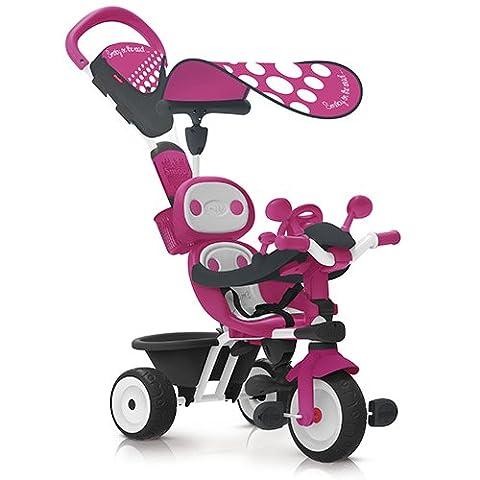 Smoby Toys, 740600, Baby Driver Confort, Tricycle Evolutif avec Roues Silencieuses, Dispositif Roue Libre et Verrouillage Guidon, Rose