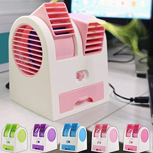 Portable Dual Bladeless Small Air Conditioner Water Air Cooler & Mini Fan Powered By Usb & Battery Use Of Car/Home/Office by SIGNATRON