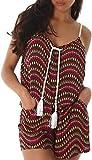 Enzoria Damen Overall Anzug Hausanzug Jumpsuit Bodysuit Einteiler Kurz Trendy Hosenanzug 36,38,40 Pink