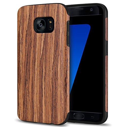 TENDLIN Galaxy S7 Hülle Holz und Flexiblem TPU Silikon Hybrid Weiche Schutzhülle für Samsung Galaxy S7, Rotes Sandelholz