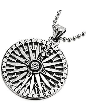 Edelstahl Kreis Kompass Anhänger mit Fleur de Lis, Herren Halskette, 75cm Stahl Kugelkette