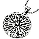 COOLSTEELANDBEYOND Edelstahl Kreis Kompass Anhänger mit Fleur de Lis, Herren Halskette, 75cm Stahl Kugelkette