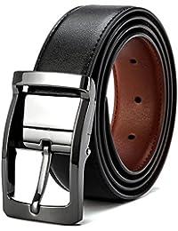 4a7ae20fc4d8 VICSPORT Ceinture réversible pour homme en cuir ceinture en noire mode  ceinture chic le costume et