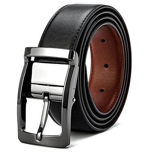Herren Gürtel Leder Gürtel Herrengürtel Jeansgürtel Gürtel Metall Manner Business Gürtel reversible Gürtel in Schwarz
