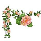 Künstlich Rose Blatt Efeu Girlande Blumen Dekoration (Dunkel Rosa)