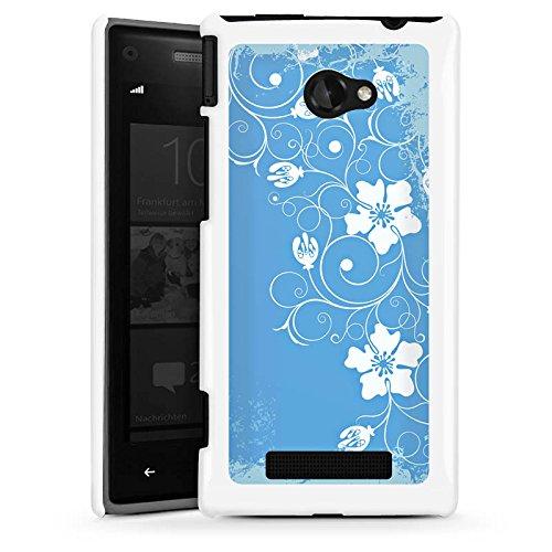 DeinDesign HTC Windows Phone 8X Hülle Schutz Hard Case Cover Muster Blume Blau