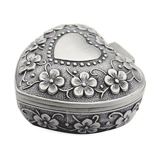 Aveson - Portagioie classico in stile vintage anticato a forma di cuore, ideale per contenere anelli e piccoli gioielli, portagioie organizzatore in argento, adatto come regalo di Natale