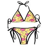 Flamingo Sexy Women Beach Swimwear Two Pieces Bathing Suit Bikini Top
