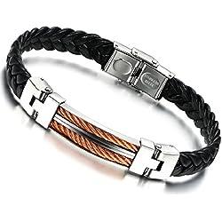 Stayoung Jewellery Puente de Amor Hombre Acero Inoxidable Pulsera/Brazalete Cuero Negro 3 Colores-Color Naranja Plateado