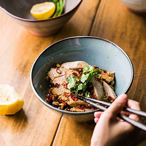 GLP Assiettes à salade Bol de céréales Bol de soupe de nouilles de style européen Bol de vaisselle Creative Ceramics Salade rétro Ramen Rice Grand bol de soupe, bleu