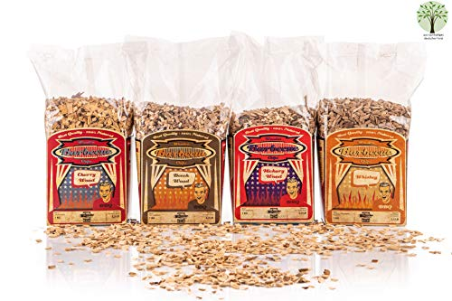 Axtschlag Räucherchips 4er Set BBQ Favorites, 4000 g Hickory, Kirsche, Buche und Whisky Wood Chips für besondere Rauch- und Geschmackserlebnisse, für alle Grills
