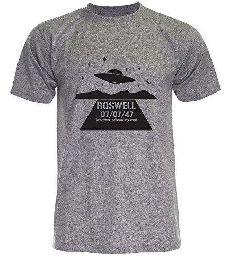 PALLAS Unisex's Alien UFO Roswell Funny T-Shirt Grey