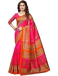 Floral Trendz Women's Bhagalpuri Silk Printed Saree With Blouse Piece.