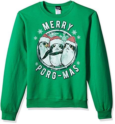 Star Wars Herren Officially Licensed Merry Porgmas Crew Fleece T-Shirt, Green, Groß Star Wars Chewbacca Fleece