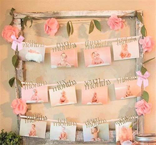 JeVenis Baby Mädchen Erster Geburtstag Dekorationen Banner 1-12 Monate Foto Seil Banner Ersten Geburtstag Garland Hochzeitszeremonie