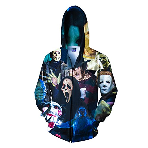 Halloween Pullover (Neue 3d Digital Drucken Athletic Pullover Hoodie Kapuzen Sweatshirts Für Halloween)