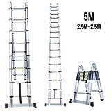 Escalera telescópica Superworth portátil de aluminio extensible a 3,2m, 3,8m y 5m. Para casa, oficina, interiores o exteriores. 150kg de capacidad, plateado