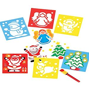Christmas stencils for children 39 s crafts pack of 6 for Amazon arts and crafts for kids