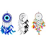 Reiki Crystal Products Dream Catcher Wall Hanging for Positive Energy and Protections (Multicolour, Pack of Combo 3 Pieces)
