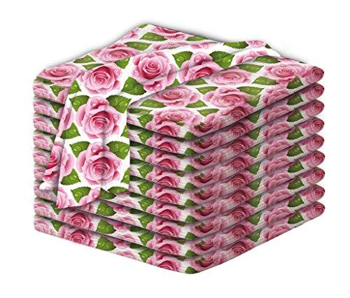 """Clever Clean Geschirrhandtücher\""""English Rose\"""" aus Aktiv-Mikrofaser 10tlg. Set - Geschirrtücher im eleganten Rosen-Design - So wird Abtrocknen und Reinigen zum Kinderspiel"""