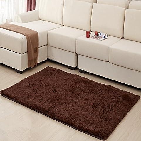 MBIGM Home Decorator moderno Shag área Rugs Super suave sólido salón alfombra dormitorio alfombra lavable y alfombras, 2pies. 8en. X 4ft. [80* 120cm], sintético, café, 2.6 x 4