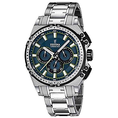 Festina Herren Chronograph Quarz Uhr mit Edelstahl Armband F16968/3