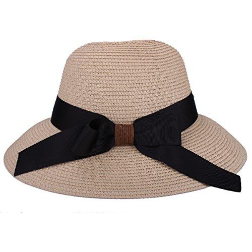 Sombrero de disquete Summer Beach Sombreros de paja de Sun Sombrero de protección anti-UV de viaje Packable UPF 50+ Sombrero de ala plegable plegable de viaje Cap para mujeres (9209 Beige)