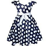 Dots Polka Filles Enfant Cap Sleeves Robe d'été Noeud Papillon 2-7 Ans Partie Mariage Reconstitution Historique (4 ans, Bleu marine)
