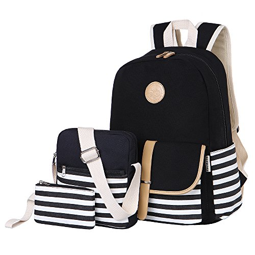 BLUBOON Schulrucksack Canvas Mädchen/Damen Schul Rucksack Set, Schulranzen + Schultertasche/Messenger Bag + Purse Große 3PCS