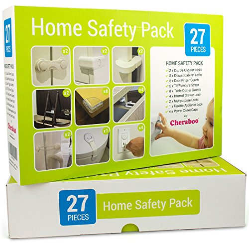 Cheraboo Toddler Home Safety Kit - Best Child Protection Pack For Kitchen Cupboard Locks, Corner Guards & Anti Tip TV/Furniture Straps - Large 27 Piece Baby Proofing Set.