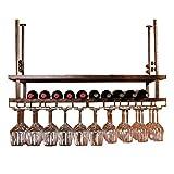 WURE Schmiedeeisen Hänge Weingestell Kopf Home Bar Bar Hohe Glashalter (Farbe : Bronze, größe : 120cm)