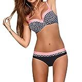BakeLIN Bikini Set, Damen Spleißen Drucken Push-Up Badeanzug Bademode Beachwear (S~2XL, Blau Rosa Rot Wassermelonerot Gelb) (M, Rosa)