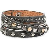 styleBREAKER Wickelarmband mit Strass, verschiedenen Nieten und Sterne, Armband, Damen 05040029