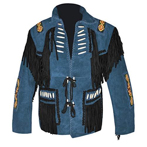 Bone Suede Schuhe (HLS Men's Western Cowboy Bone & Fringed Suede Leather Jacket D4 - Blue V3-5XL)